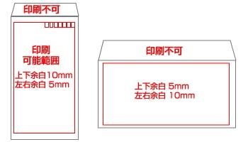 封筒入稿用データの印刷可能範囲